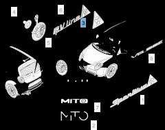 Badge klavertje vier linker zijkant voor Alfa Romeo Mito