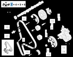 Distributiekit (riem, vaste en verstelbare riemspanner) - 3 stuks voor Fiat en Fiat Professional