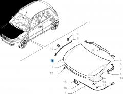 Motorkap zonder scharnieren voor Fiat Sedici
