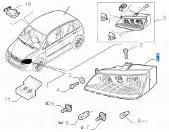 Koplamp rechtsvoor compleet met mistlamp voor Fiat en Fiat Professional