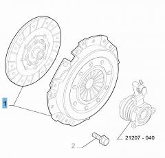 Set koppeling (koppelingsplaat en drukplaat) voor Abarth 500