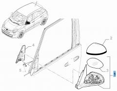 Linker buitenspiegel voor Fiat 500L