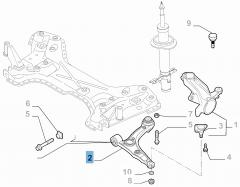 Linker schommelarm voor voorophanging voor Fiat en Fiat Professional