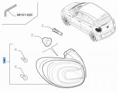 Vast rechter achterlicht voor Fiat 500L