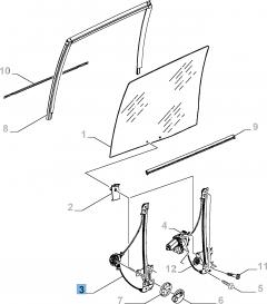 Handbediende raamopener, geschikt voor schuifdeur zijkant links