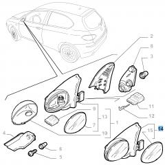 Linker buitenspiegel voor Alfa Romeo 147