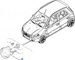 Mistlamp rechtsvoor voor Fiat Sedici