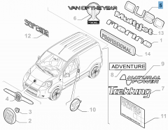 Code model Qubo achterzijde voor Fiat Professional